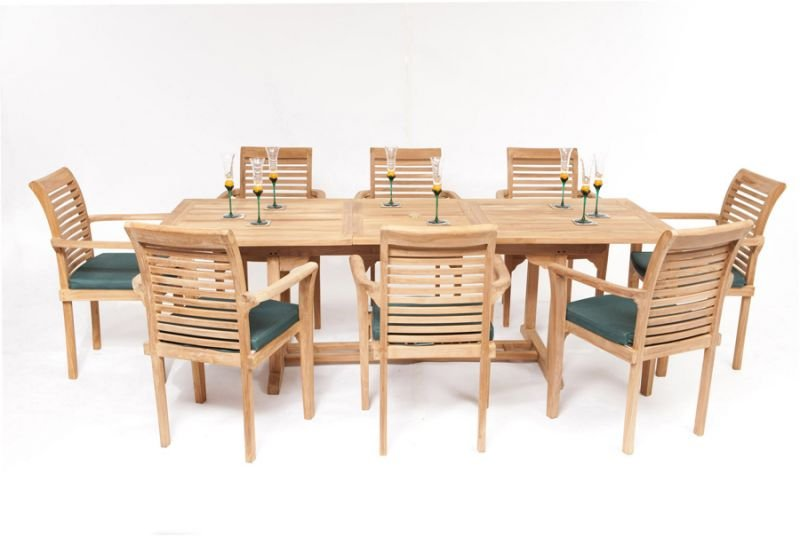 8 Seater Rectangular Teak Dining Set with Extendable Table  : FU5691POPUP from www.primrose.co.uk size 800 x 536 jpeg 115kB