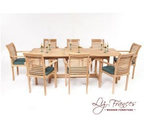 8 Seater Rectangular Teak Dining Set with Extendable Table by Liz Frances™