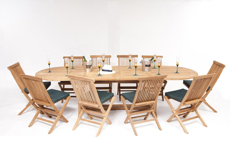 10 Seater Oval Teak Dining Set with Extendable Table with  : FU5697POPUP from www.primrose.co.uk size 800 x 534 jpeg 207kB