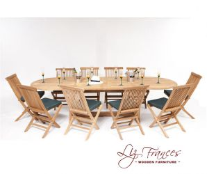 10 Seater Oval Teak Dining Set with Extendable Table with Folding Chairs by Liz Frances™