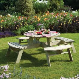 W2m (6ft 7in) Eight Seater Round Wooden Picnic Table by Rowlinson®