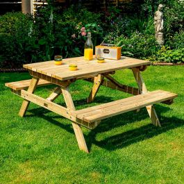 D1.21m (4ft) Four Seater Wooden Picnic Bench by Rowlinson®
