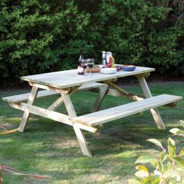 D1.52m (5ft) Wooden 4 Seat Garden Picnic Table by Rowlinson®