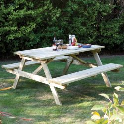 Four Seater Wooden 4 Seat Garden Picnic Table by Rowlinson®