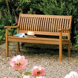 W1.2m (3ft 11in) FSC® Hardwood Willington Garden Bench by Rowlinson®