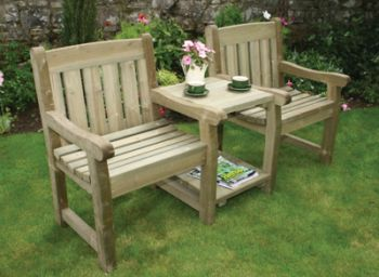cotswold wooden companionlove seat - Wooden Garden Furniture Love Seats