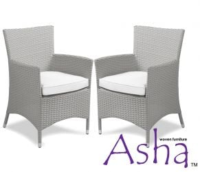 Pair of Grey Beaumont Rattan Chairs by Asha™