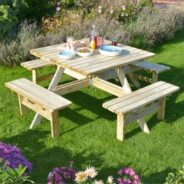 W2m (6ft 7in) Square Picnic Table by Rowlinson®