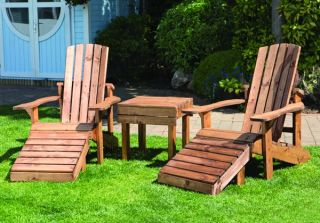 Charles Taylor Aidendack Wooden Garden Chairs and Table Set