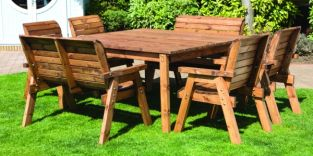 Eight Seater Deluxe Square Table Set (Benches & Chairs)