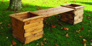 Charles Taylor Redwood Planter Bench