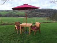 2 Seater Dining Set with Parasol & Base