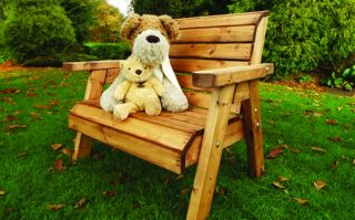 Little Fella's Redwood Childrens' Traditional Wooden Bench