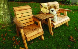 Little Fella's Redwood Childrens' Bench and Chair Companion Seat