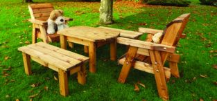 Little Fella's Redwood Childrens' Table with Chairs and Benches