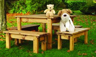 Little Fella's Redwood Childrens' Square Table with Benches