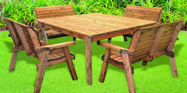 Eight Seater Deluxe Square Table Set with 4 Benches