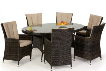 Maze Rattan - LA 6 Seater Oval Dining Set in mixed chocolate