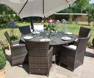 Maze Rattan - LA 6 Seater Oval Dining Set
