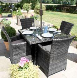 Maze Rattan - LA 4 Seater Square Dining Set in Grey