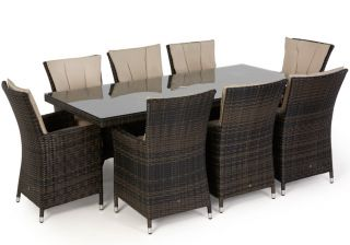 Maze Rattan - LA 8 Seater Rectangular Dining Set in Brown