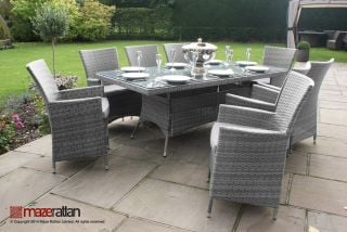 Maze Rattan - LA 8 Seater Rectangular Dining Set in Grey