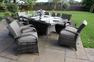 8 Seater Texas Rectangular Dining Set in Grey Rattan