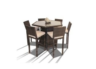 Asha™ 6 Seater Rattan Hexagonal Bar Set -  Mixed Choc