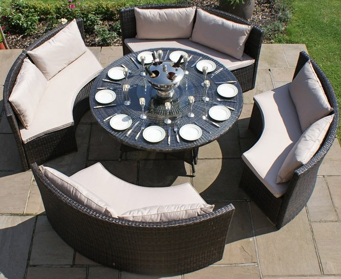 Maze Rattan - Dallas 12 Seater Sofa Set in Grey