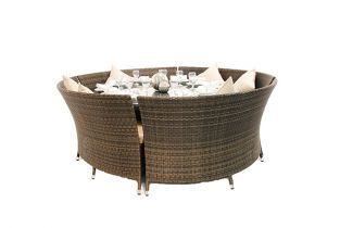 "Asha™ ""Chester"" 10 Seater Rattan Oval Sofa Dining Set - Mixed Choc"