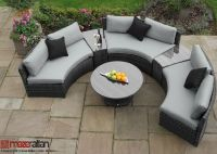 Maze Rattan - Half Moon 3 Seater Sofa Set in Grey