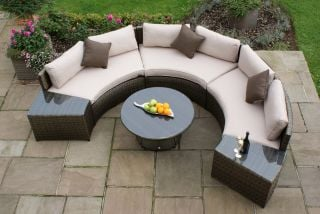 Maze Rattan - Half Moon 3 Seater Sofa Set in Brown