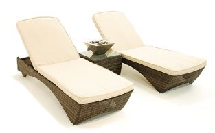 Rattan Sunbed Set - Mixed Chocolate