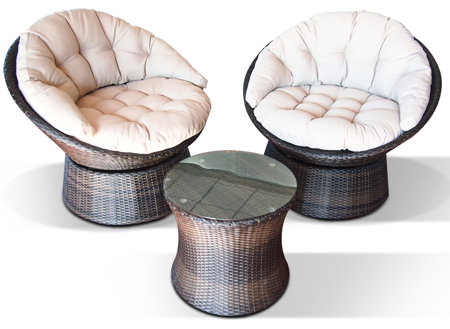 Maze Rattan - Swivel Lounge Set in Mixed Chocolate