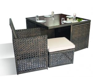 Open Weave Cube Set with Footstools