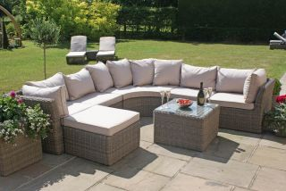 Maze Rattan Winchester Outdoor Rounded Corner Sofa Table and Footstool Set in Natural