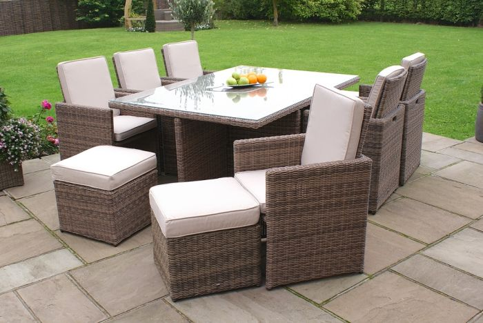 Maze Rattan - Winchester 6 Seater Cube Set with Footstools
