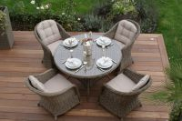 Maze Rattan - Winchester 4 Seater Round Dining Set with Round Chairs