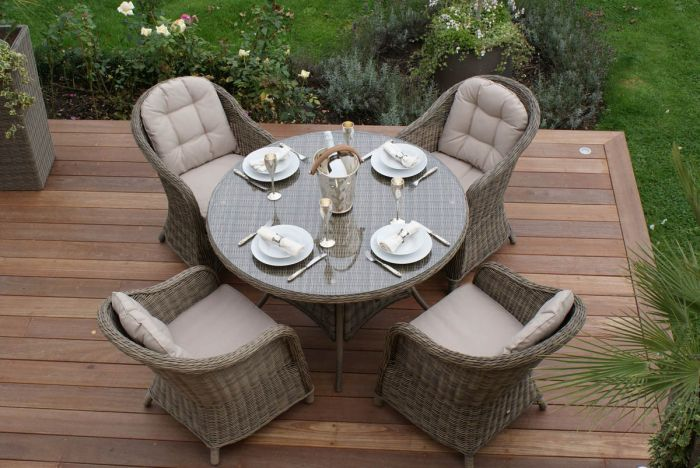 Maze Rattan - Winchester 6 Seater Round Dining Set with Round Chairs