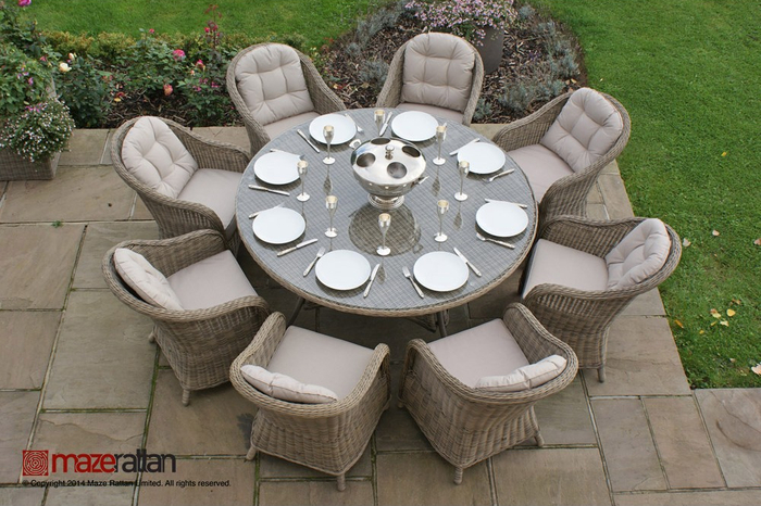 Maze Rattan - Winchester 8 Seater Round Dining Set with Round Chairs