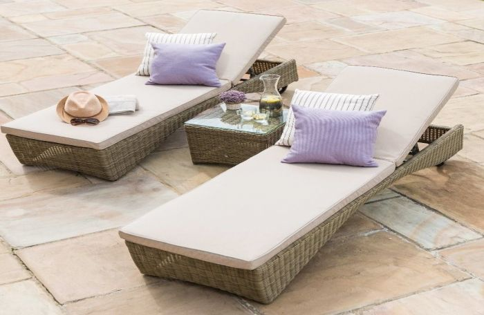 Maze Rattan Winchester Sun Lounger Set with Wheels