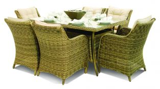 Maze Rattan - Winchester 6 Seater Rectangle Dining Set with Square Chairs