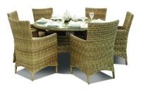 """Tamworth"" 6 Seater Rattan Round Dining Set with Dining Chairs - Champagne"