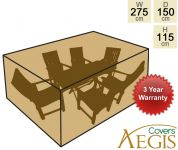 6 Seater Green Rectangular Set Cover Aegis W275cm x D150cm - Deluxe