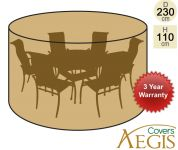 6 Seater Green Round Set Cover Aegis D230cm - Deluxe