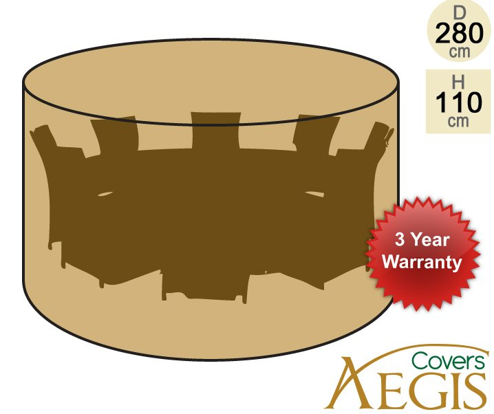 8 Seater Green Round Set Cover Aegis D280cm - Deluxe