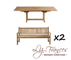8 Seater Rectangular Extendable Teak Set with Benches by Liz Frances