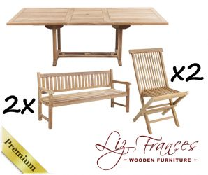 Grade A Teak 10 Seat Rectangular Extendable 'Pembroke' Set with Benches by Liz Frances™