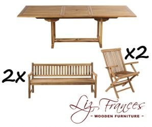 10 Seater Teak Rectangular Extendable 'Lakeland' Set with Benches by Liz Frances