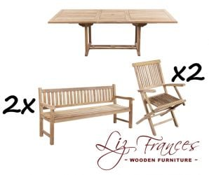 Grade A Teak 10 Seat Rectangular Extendable 'Clermont' Set with Benches by Liz Frances™
